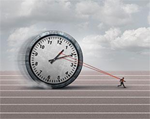 man pulling clock