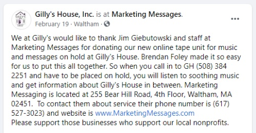Marketing Messages Gilly's House Facebook